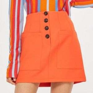 Topshop Two Pocket Button Mini Skirt Size 8
